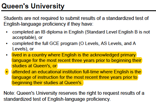 Queens university request