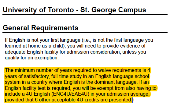 University of Toronto request